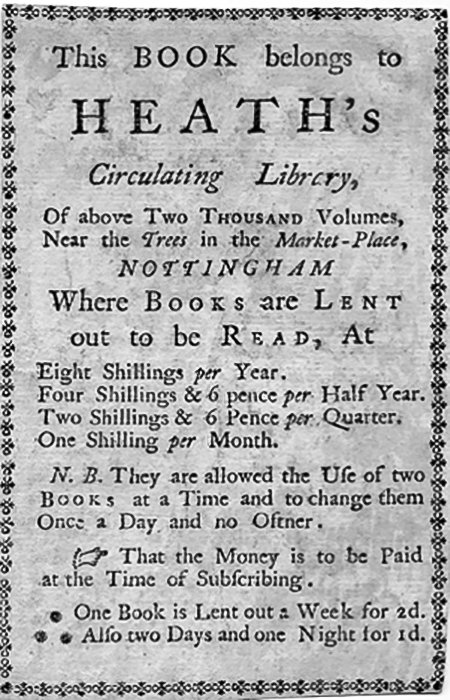 Bookplate of Heath's Circulating Library, courtesy of the Heath-Caldwell Family Archive http://www.jjhc.info/bookplateheathjoseph1757.htm